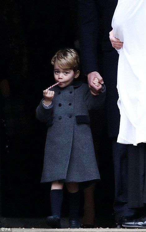 Prince George enjoyed a candy cane after church...