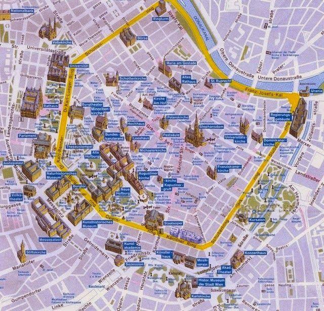 Resultado De Imagen De Mapa Retro Viena Con Imagenes Viena Mapas