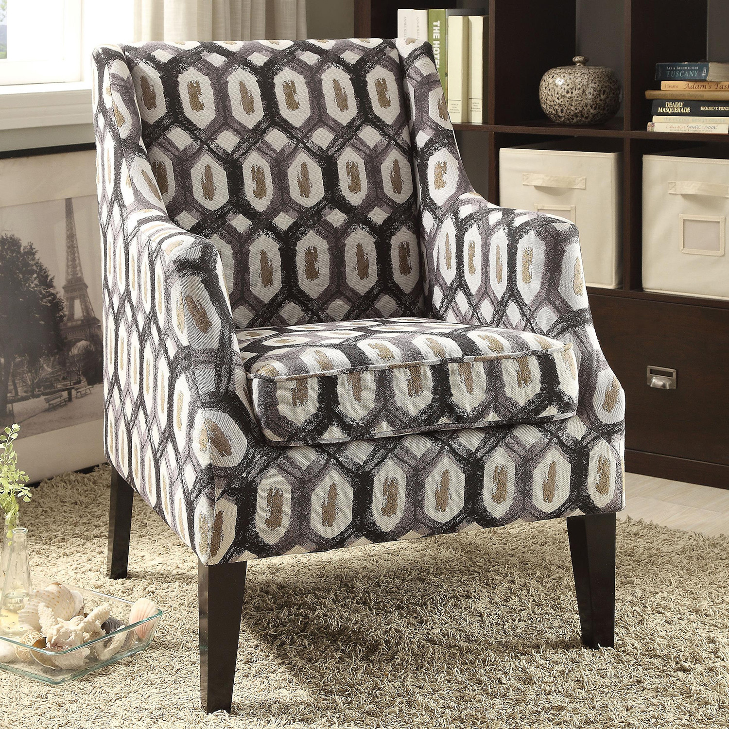 Stupendous Zarate Accent Chair In Pattern Fabric By Acme Furniture Alphanode Cool Chair Designs And Ideas Alphanodeonline