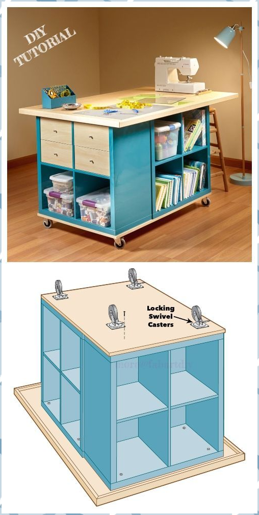 Ikea Kallax Cube Basteltisch Diy Tutorial Upcycling Ideen Adventskalender Diy Craft Table Diy Craft Room Tables Diy Craft Room Table