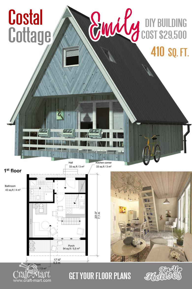 Cute Small Cabin Plans (A-Frame Tiny House Plans, Cottages, Containers) -  Craft-Mart | Small cabin plans, Two bedroom tiny house, A frame house plans