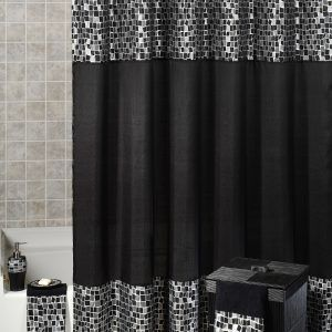 Black And Silver Shower Curtain Sets