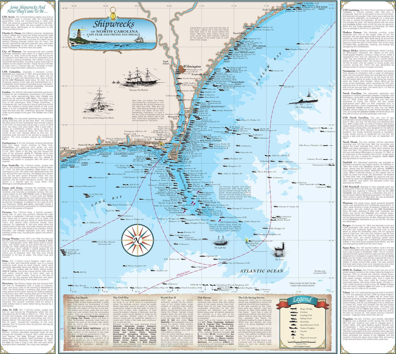 North carolina shipwreck chart cape fear and frying pan shoals north carolina shipwreck chart cape fear and frying pan shoals from sealake products llc geenschuldenfo Image collections
