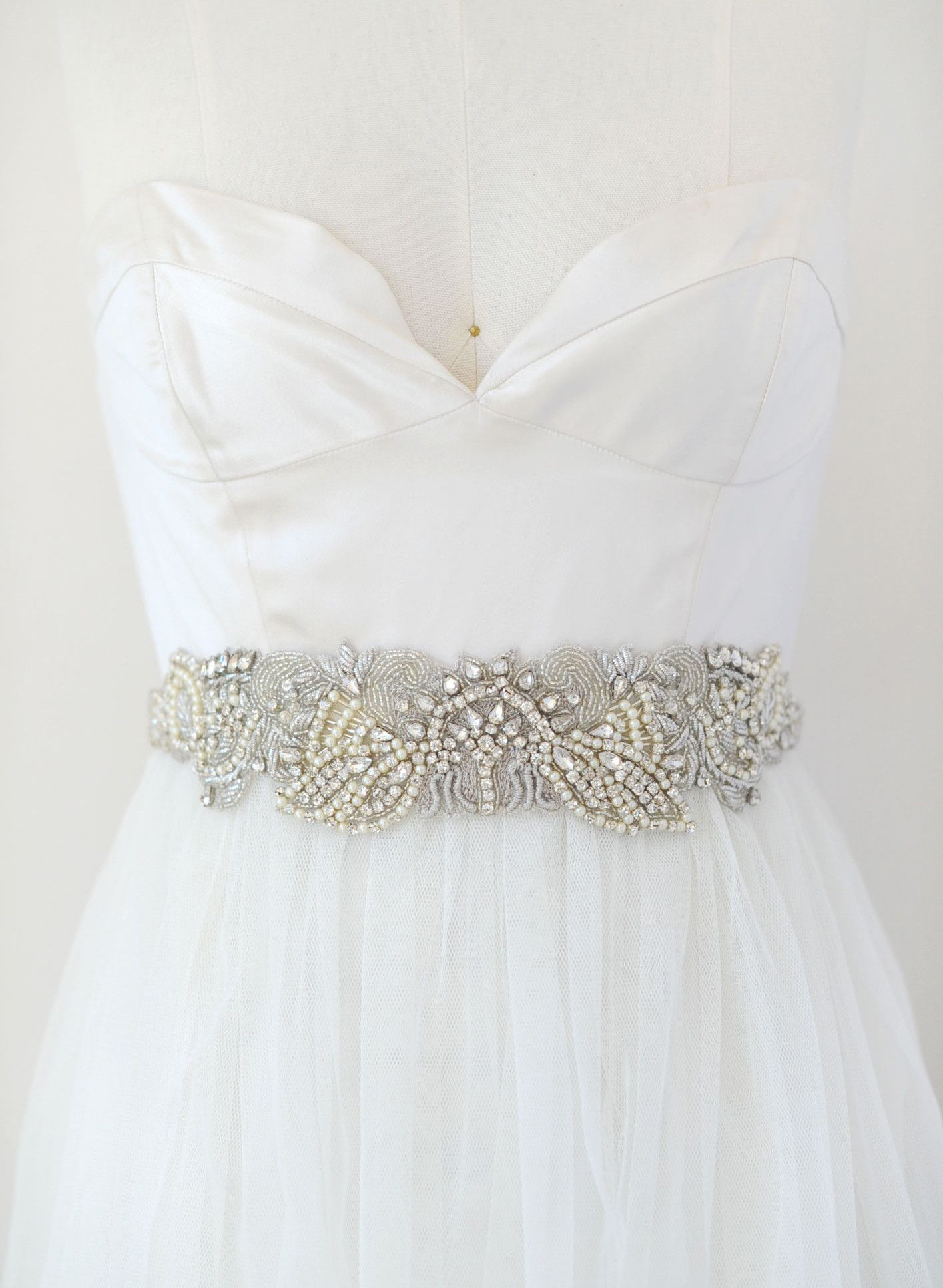 Twigs /& Honey Womens Beaded Lace Ivory Bridal Belt