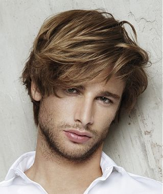 Medium Straight Hairstyles For Guys : Long brown straight coloured multi tonal mens hairstyles for men