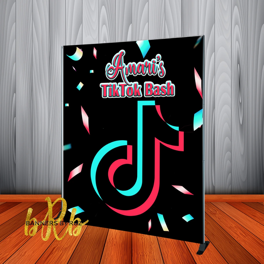 1 Tik Tok Backdrop Personalized Step Repeat Designed Printed Ship Banners By Roz Backdrops Banner Backdrop Custom Backdrop
