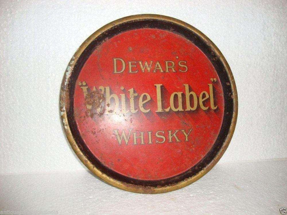 Vintage Original Dewar's White Label Whisky Litho Print Tin Tray