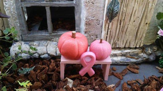Breast Cancer Awareness Month, pink fairy garden, miniature pink pumpkins, miniature fall scene, dollhouse pumpkins, fairy garden pumpkins