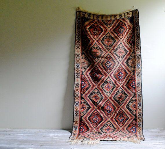 Vintage East Anatolian Van Kurdish Kilim Rug / 5' X 2