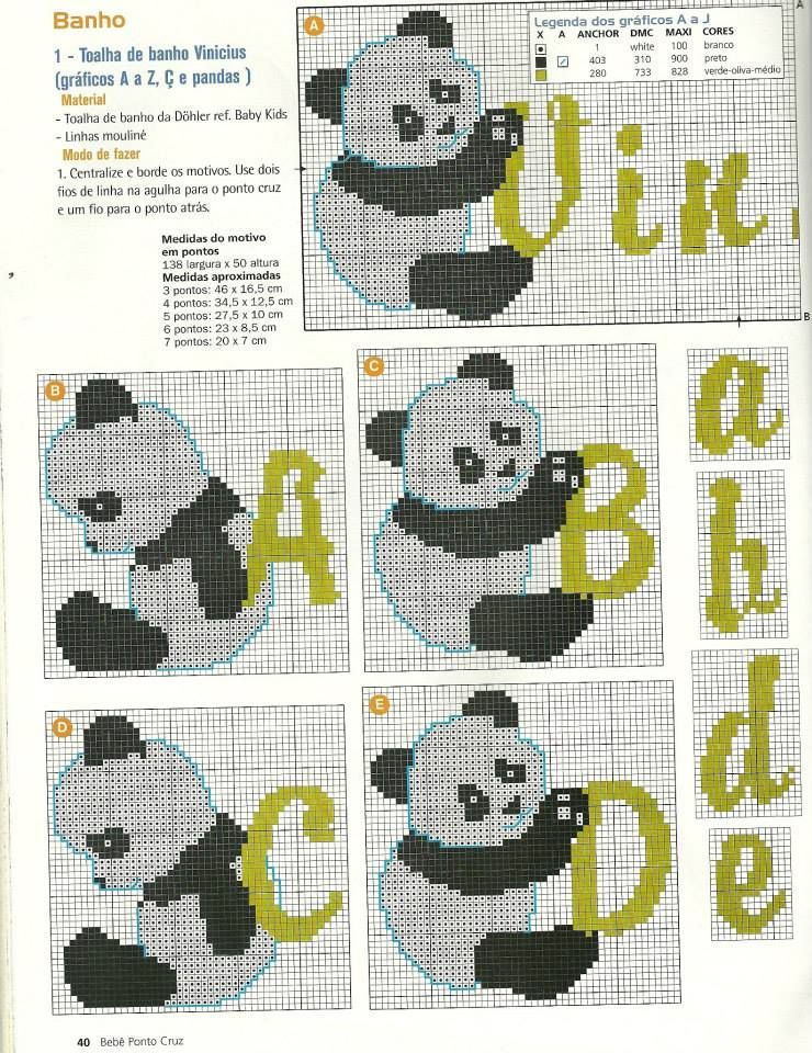 ABC PANDAS | Letras en punto cruz | Cross stitch alphabet, Stitch ...