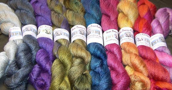 """2 ply Kid Mohair yarn - hand dyed $28 """"Angoraglow"""" is spun from our finest kid fleeces and is hand dyed by us at Lara Downs. The lustre of the pure unbrushed mohair is superb and the handle is silky soft.   This 2 ply version comes in 100 gram hanks each with 450 metres.   There are 10 individual hanks offered here, each in a"""