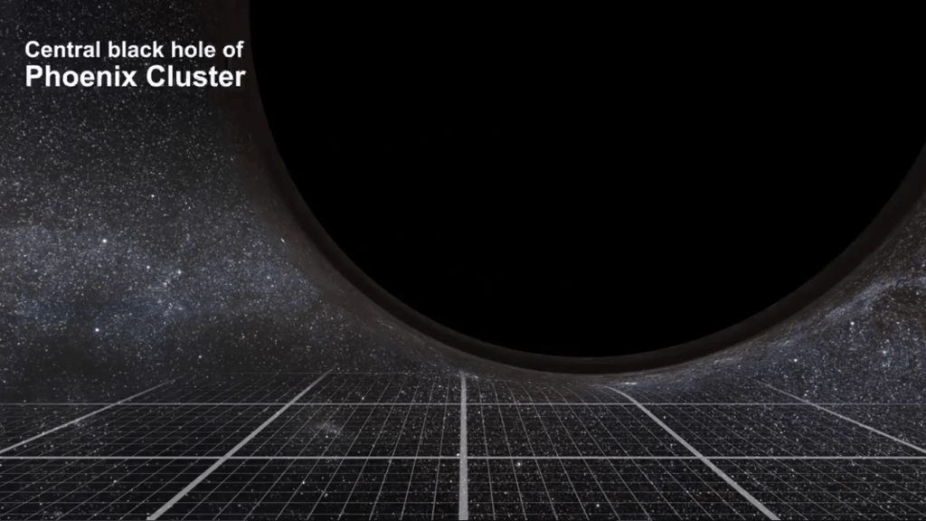 The central black hole has an estimated mass of on the order of 20 billion M☉…