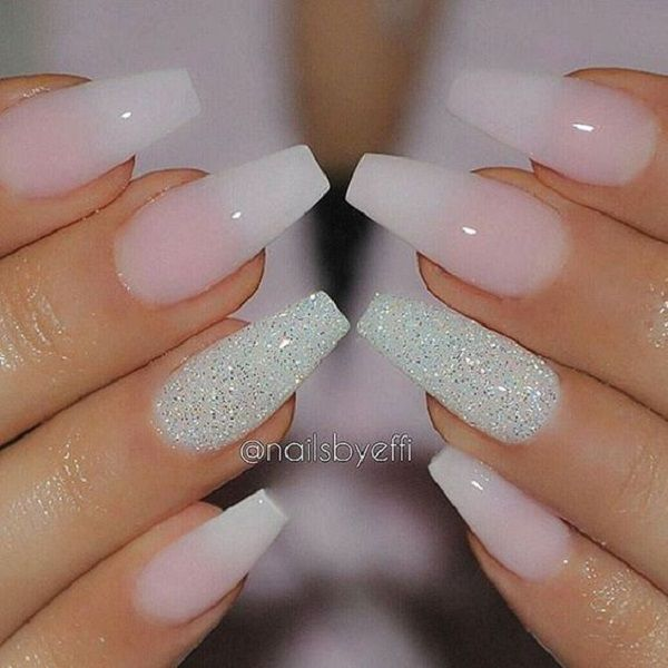 Transparent Nails With Center Glittered Coffin This Slaying Ombre The Ring Finger Being