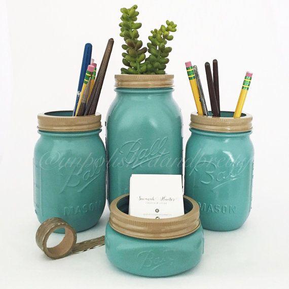 Mason Jar Desk Set, Desk Organization, Painted Mason Jars, Office Supplies,  School