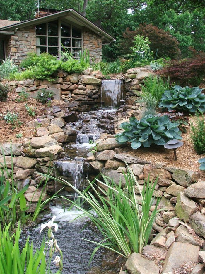 gartenideen wasserfall garten gestalten exterieur - Gartenideen