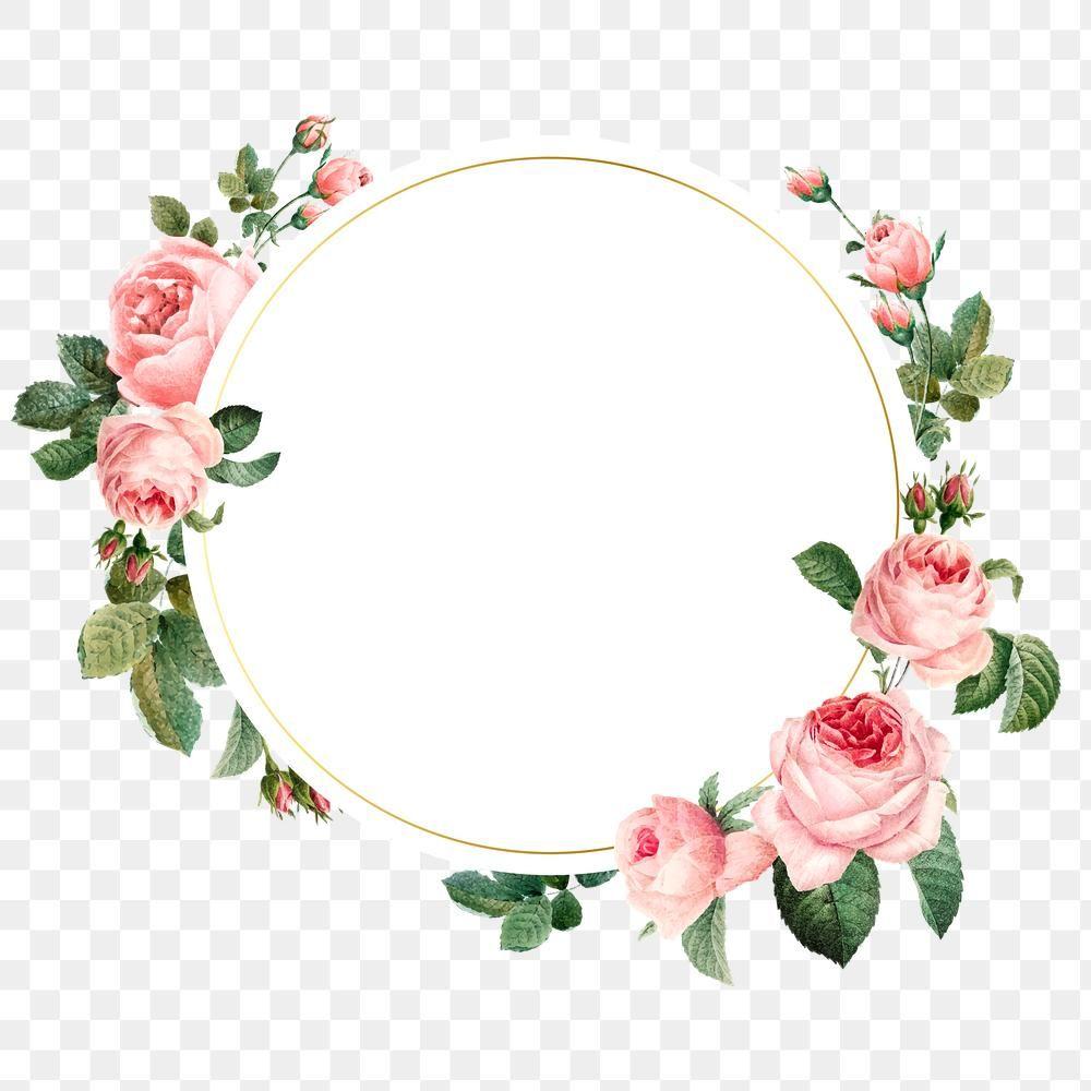Pink Cabbage Rose Pattern On A Gold Frame Design Element Free Image By Rawpixel Com Sich Flower Illustration Wedding Mint Green Flower Background Wallpaper
