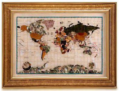 Gemstone World Map.Gemstone World Map Opal Free Shipping World Maps Are Handmade