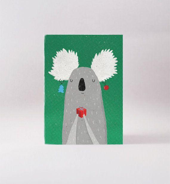 Christmas Koala Card Australian Blank Greeting Card Blank Greeting Cards Cards Greeting Cards