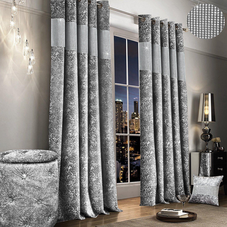 Thick Lined Ring Top Eyelet Crushed Velvet Silver Grey Diamante Band Curtains Ebay Velvet Curtains Curtains Curtains And Pelmets