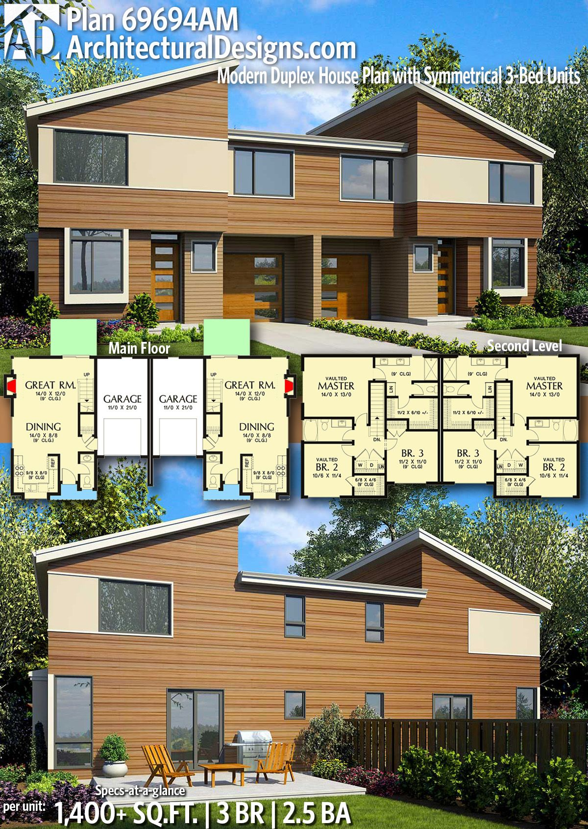 Plan 69694am Modern Duplex House Plan With Symmetrical 3 Bed Units Duplex House Plans House Plans Industrial House Exterior