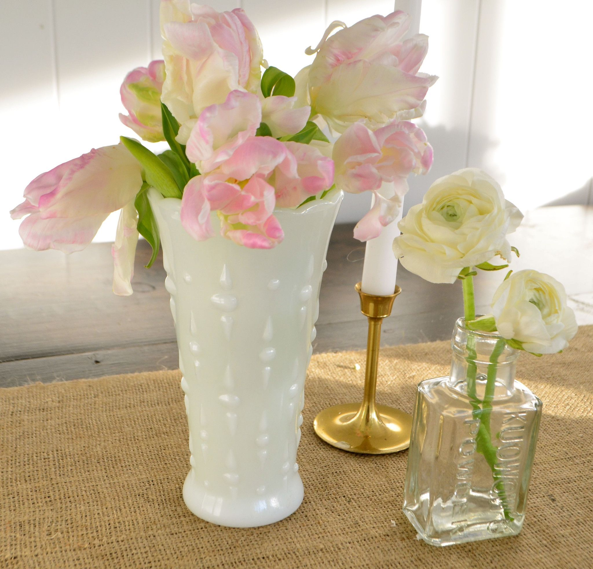 Vintage White Milk Glass Tall Textured Vase