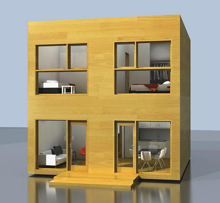 Casa de 6x6 de dos pisos con dos habitaciones cada for Casa moderna 6x6