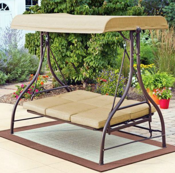 Outdoor Swing Hammock Rocker Tan Garden Furniture Canopy Steel Patio Porch Bed