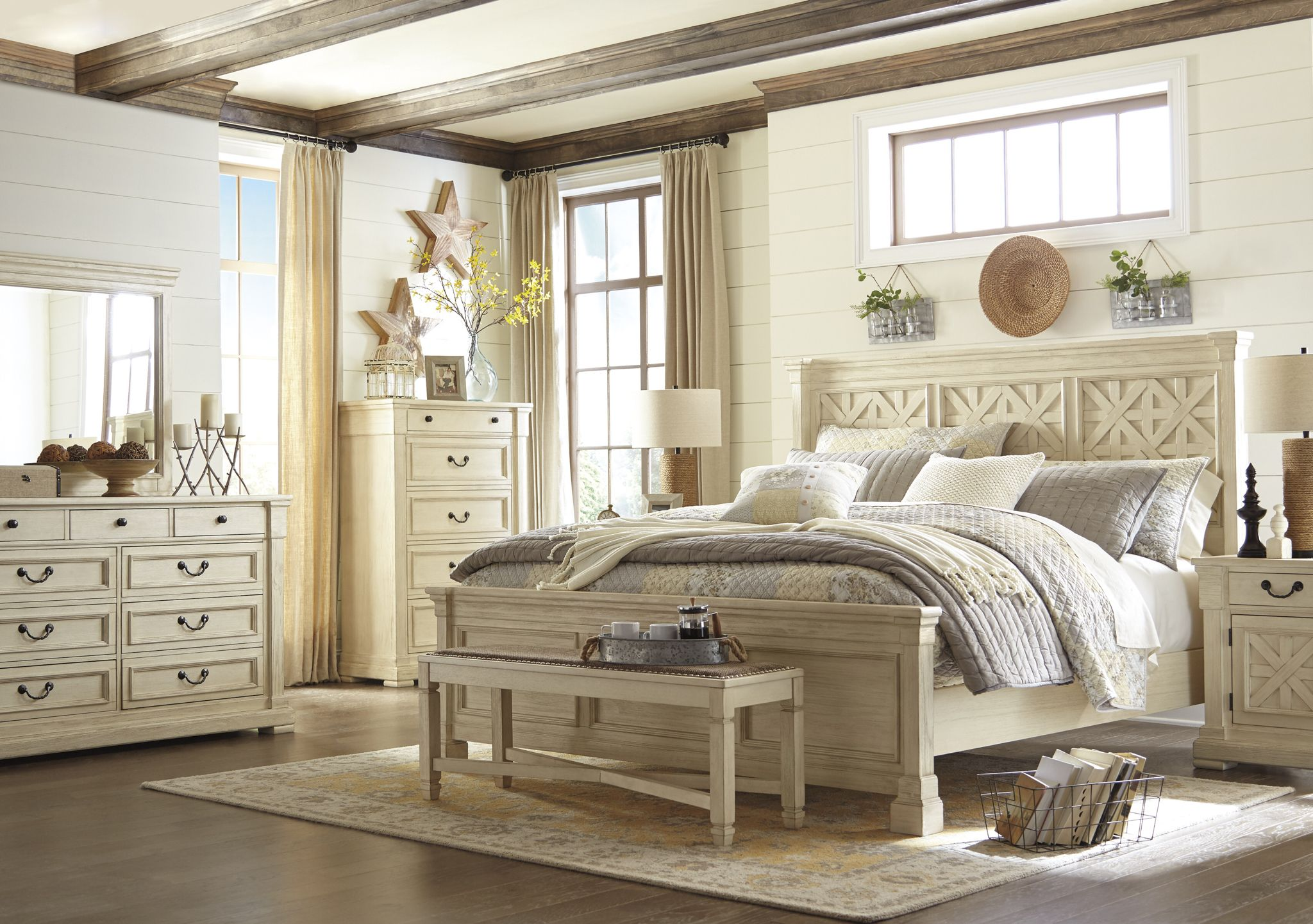 White Bedroom Suite. The Ashley  Bolanburg Bedroom suite is made with acacia veneers and solids