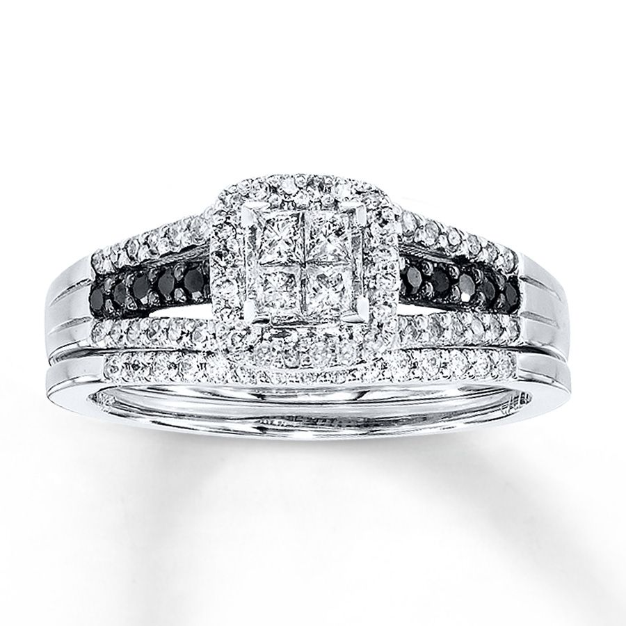 kay blackwhite diamonds 12 ct tw bridal set 10k white gold - Black Diamond Wedding Ring Set