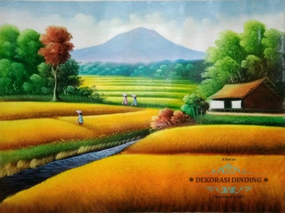 930 Koleksi Lukisan Pemandangan Sawah Dan Gunung Gratis Terbaru Waterfall Landscape Waterfall Pictures Green Landscape