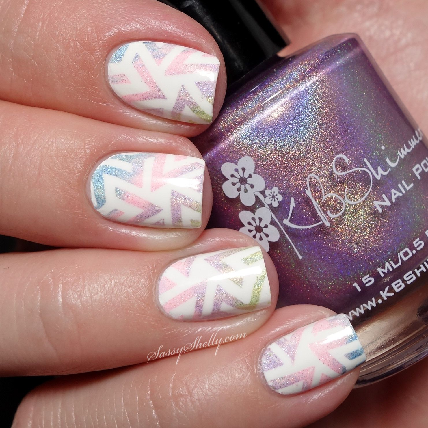 Geometric gradient stamping nail art with the kbshimmer spring
