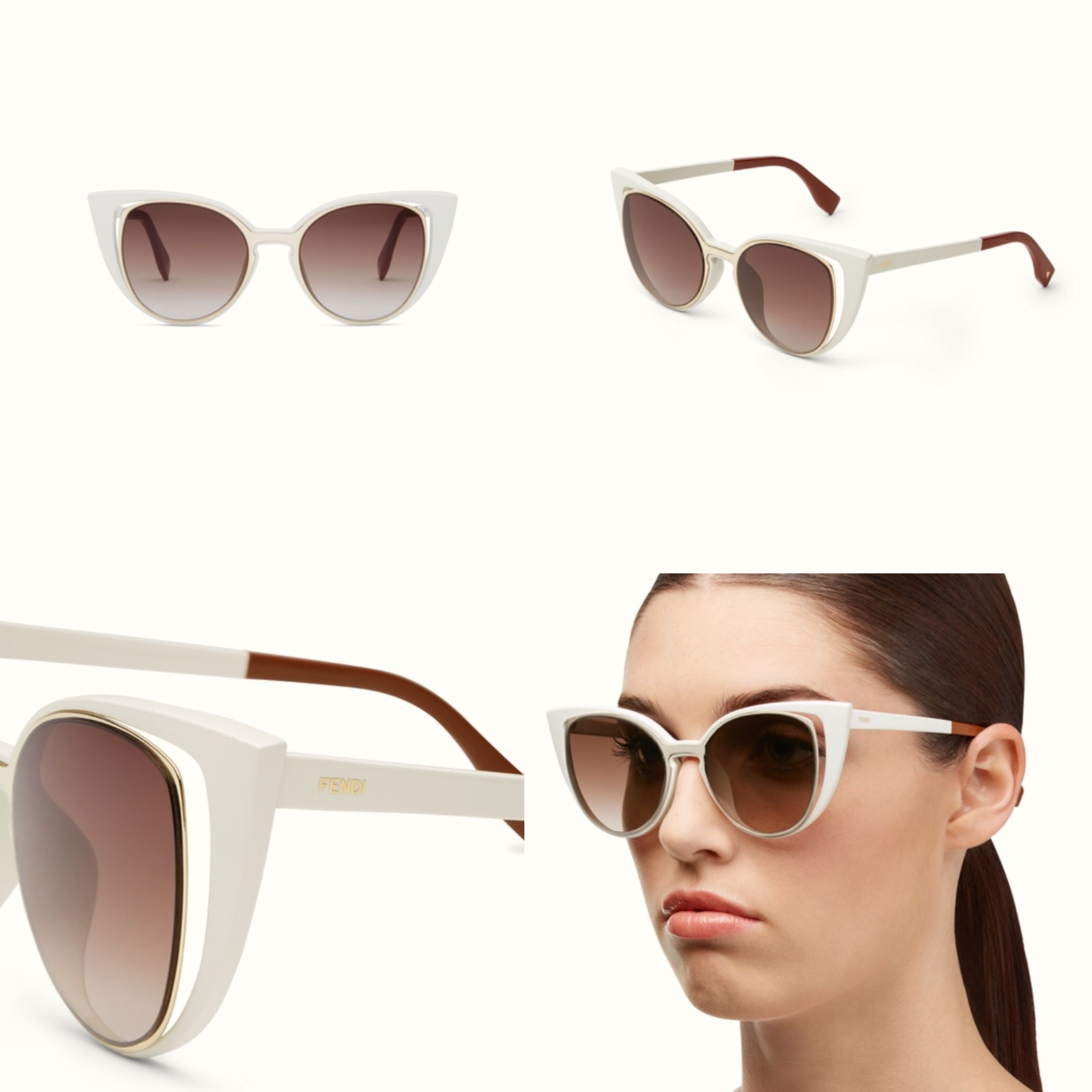 ee4e9758 FENDI PARADEYES Sunglasses White cat-eye double frame sunglasses ...