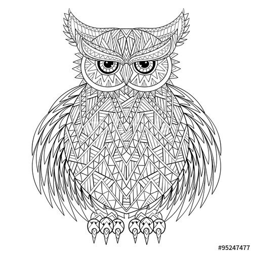 zentangle Owl, bird totem for adult Coloring Page