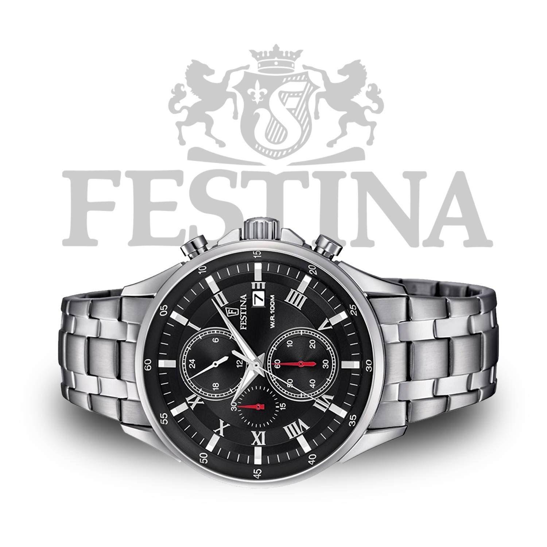 Festina Timeless Chronograph F6853 4 Sportliche Herrenuhr In Schwarz Silber Mit Miyota Quarzwerk Shoppingfe Sportliche Herrenuhr Uhren Herren Herrenuhren