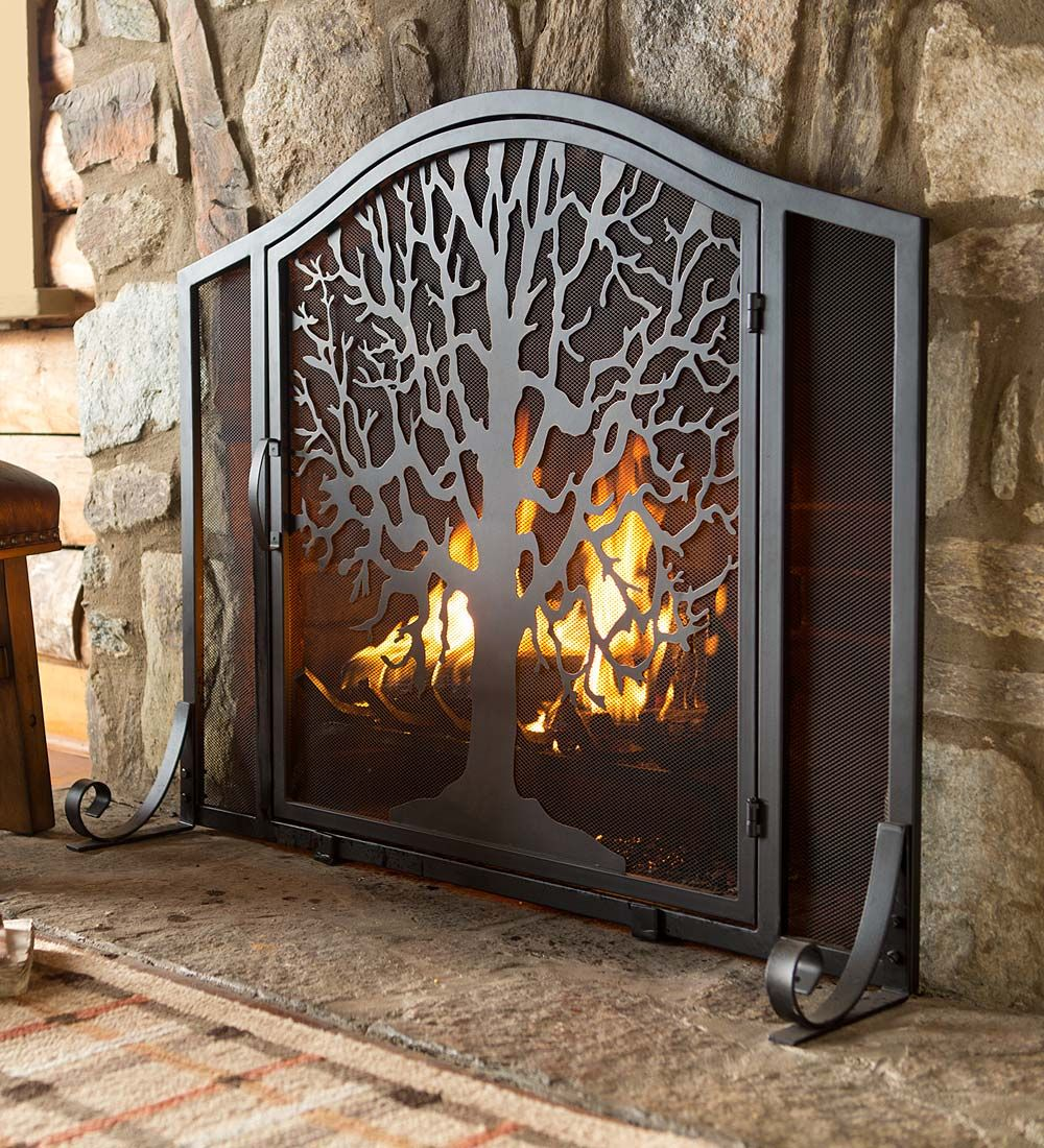 Large Tree Of Life Fire Screen With Door Collection Accessories Metal Fireplace Fireplace Screens Fireplace Screens With Doors