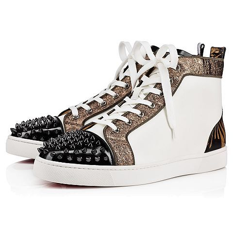 ce1f8fce3953 CHRISTIAN LOUBOUTIN Lou Spikes Flat Version Latte Patent Leather - Men Shoes  - Christian Louboutin.  christianlouboutin  shoes