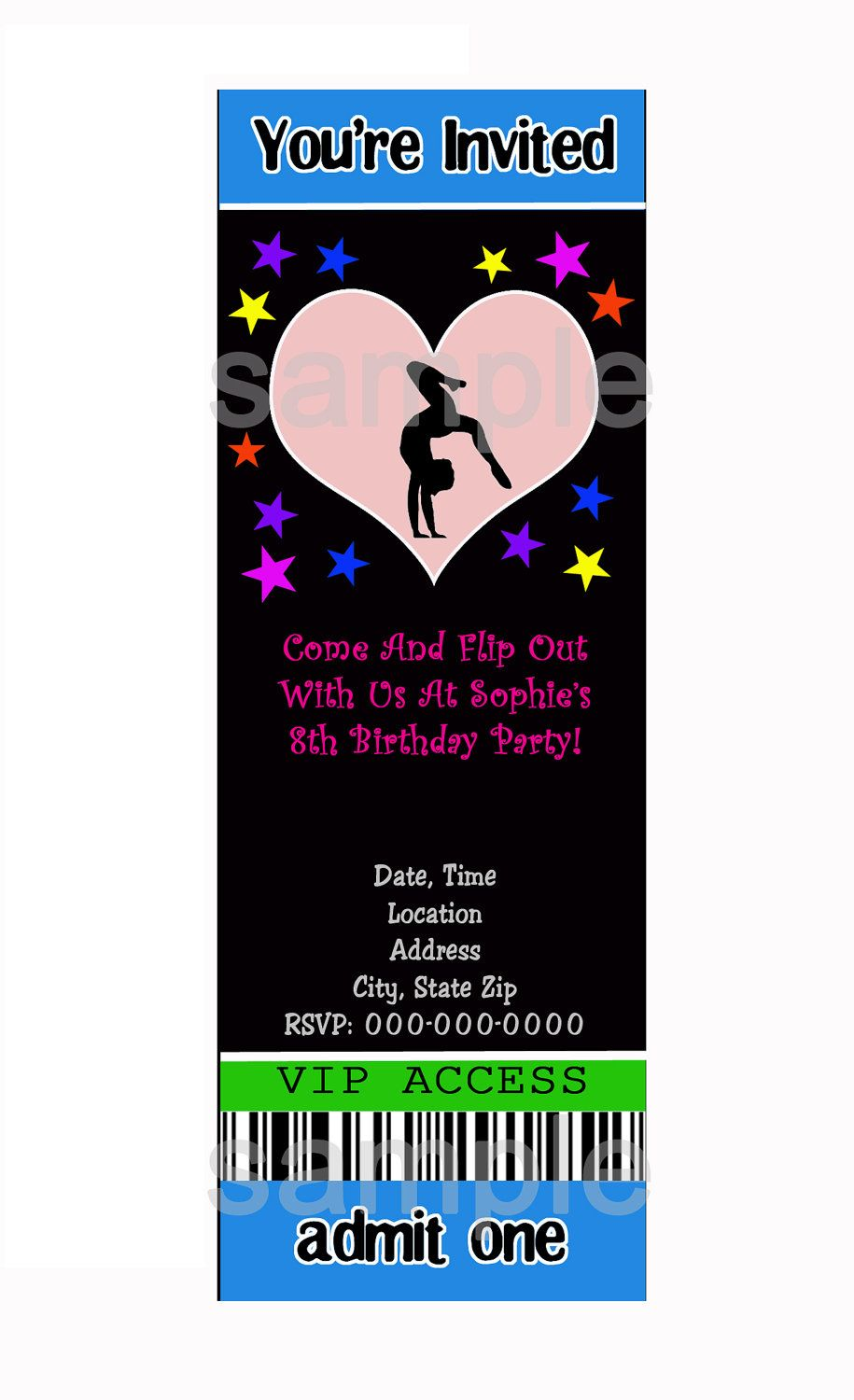 GYMNASTICS PARTY Invitations - Personalized D I Y You Print At Home ...