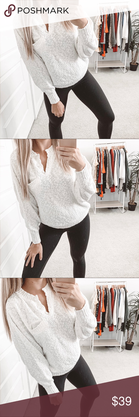 Vintage Shaggy Knit Henley Sweater Off White Vintage Shaggy Henley Sweater Off W...
