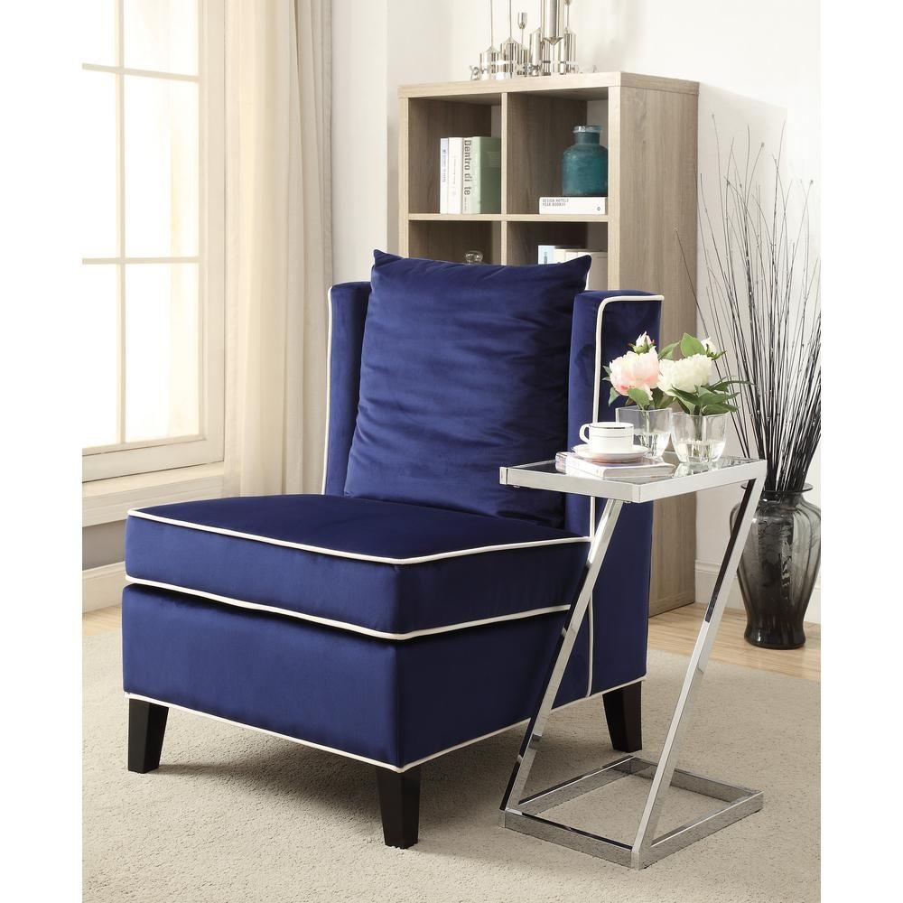 Acme Furniture Ozella Accent Chair In Dark Blue Accent