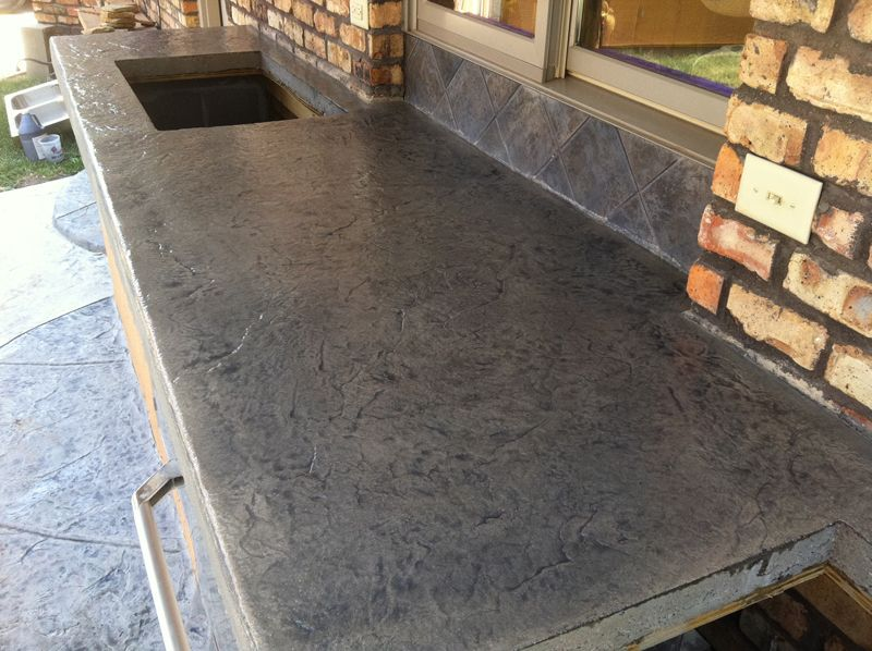 Concrete countertops stamped concrete countertop desert for Concrete kitchen countertop ideas
