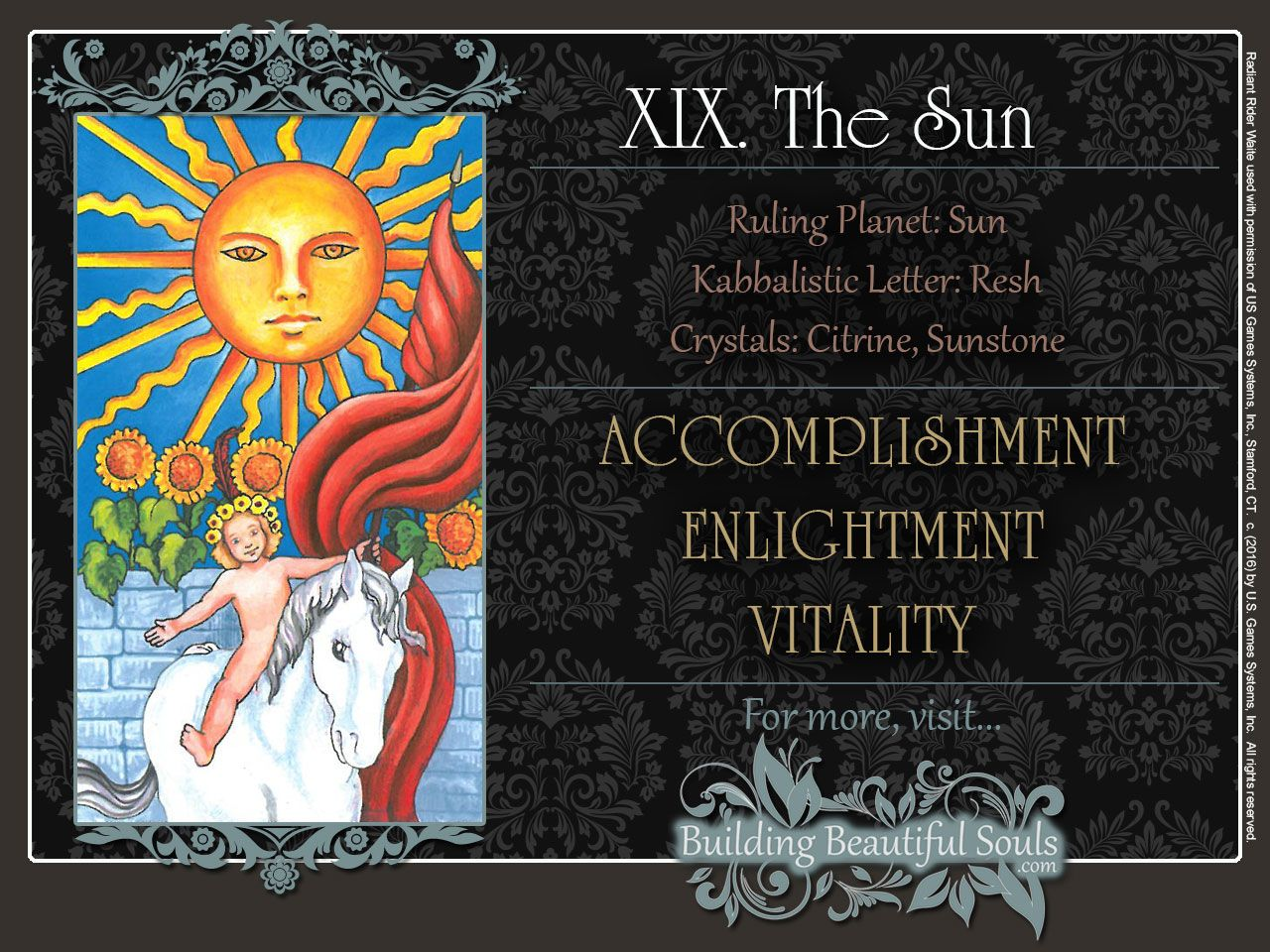 In-depth Tarot card meaning for The Sun - Upright & reversed Tarot Card Meanings included for better Tarot Reading. Learn more in our esoteric knowledge center!