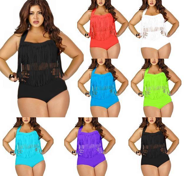 b01a338abd8a8 Wholesale 2015 Newest Summer Plus Size Tassels Bikinis High Waist Sexy Women  Bikini Swimwear Padded Boho Fringe Swimsuit from China   12.43