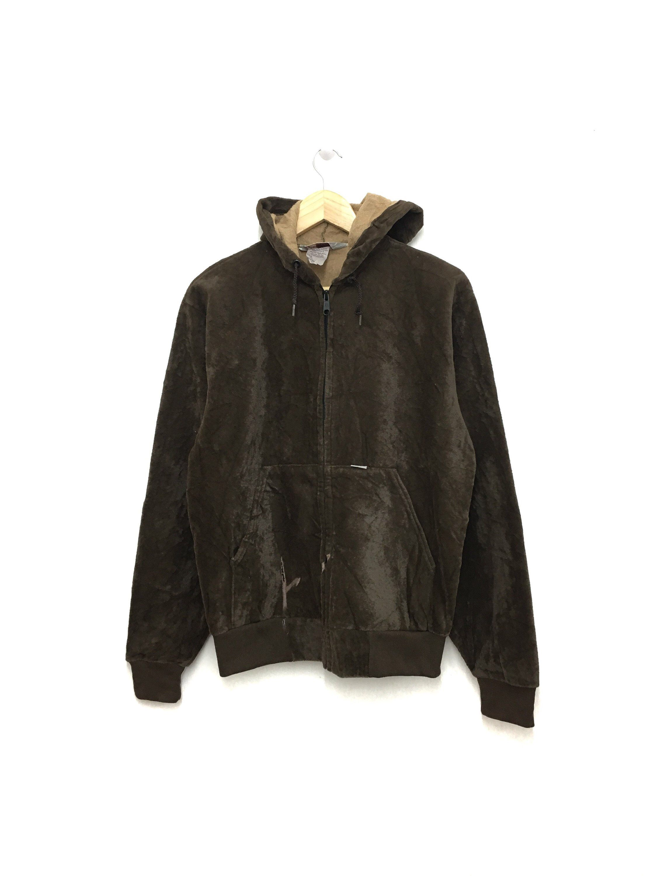 Excited to share this item from my  etsy shop  Rare!! Vintage CARHARTT  Velvet Zipper Sweater Jacket Hoodie Brown Color Medium Size Made In Usa   clothing ... f00b0c3a7