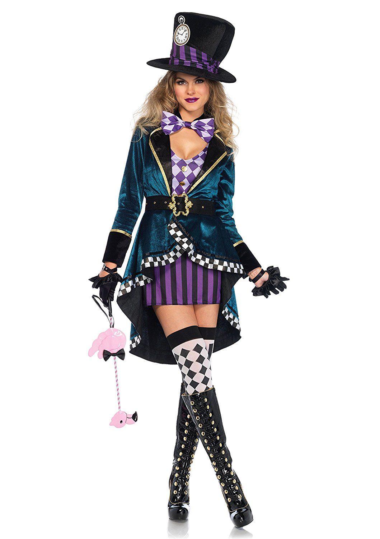 Wunderland Hutmacher Damen Kostum Kleid Mantel Hut Marchen Alice