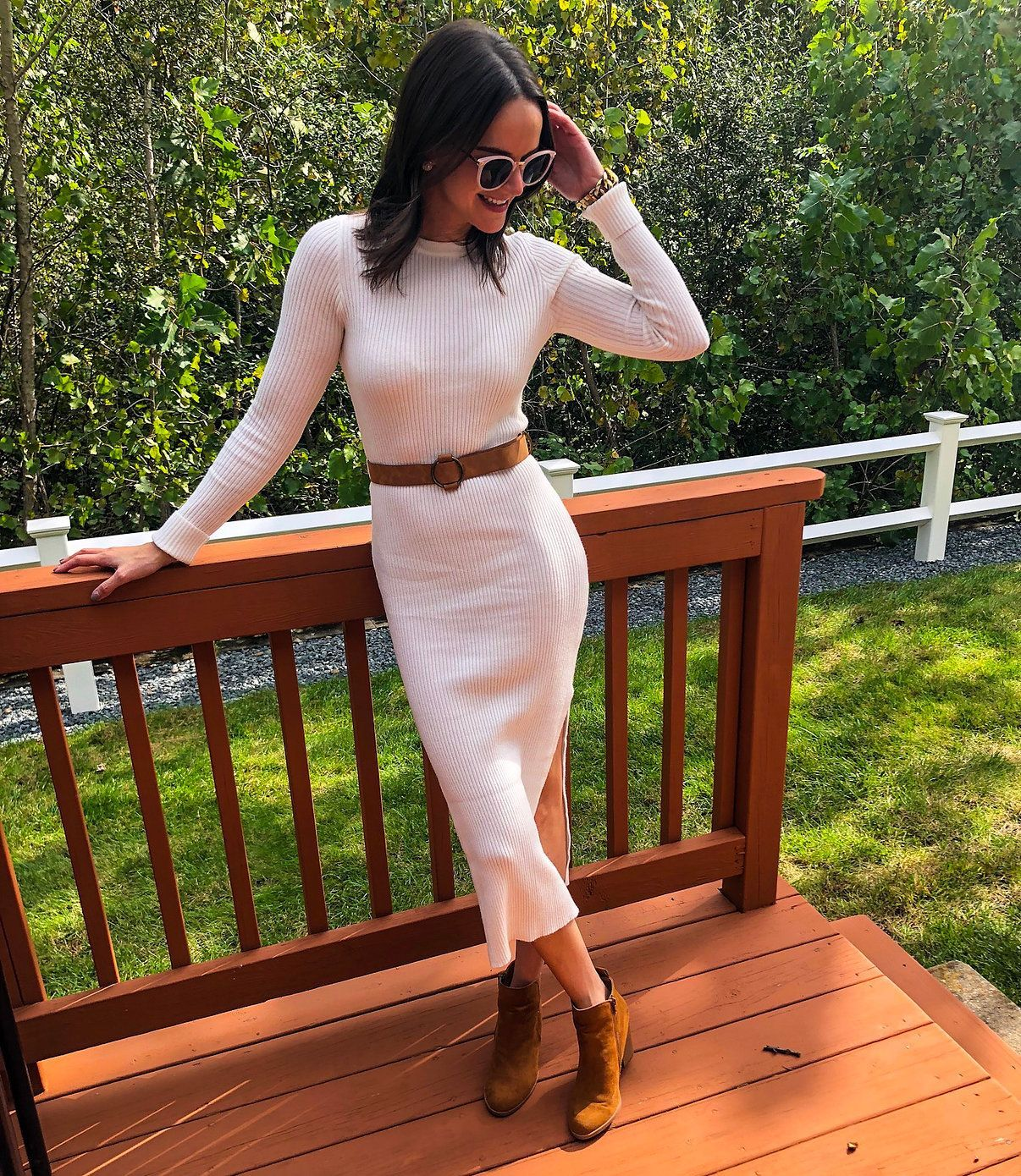 What To Wear To Thanksgiving Dinner Under 50 Midi Dress Outfit Midi Dress Fall Fashion [ 1390 x 1206 Pixel ]