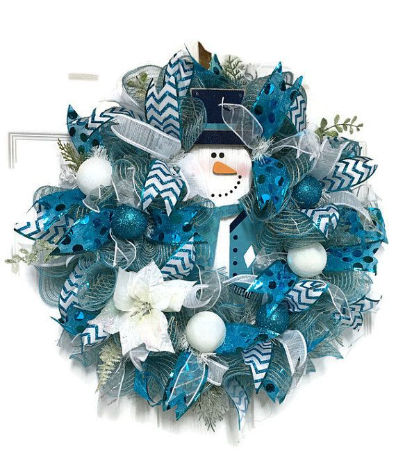 Blue Christmas Wreath Snowman Wreath Blue And By Lisaslaurels White Christmas Wreath Christmas Wreaths Snowman Wreath