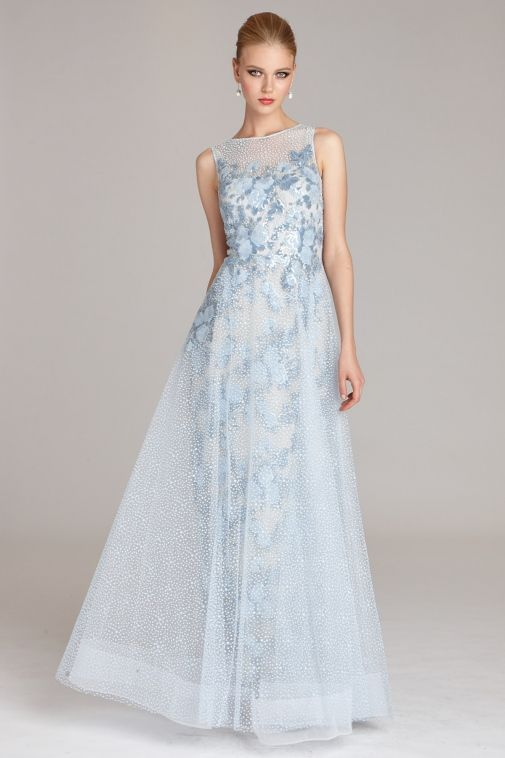 Tulle Gown with Floral Appliques | Teri Jon | Stuff to Buy ...