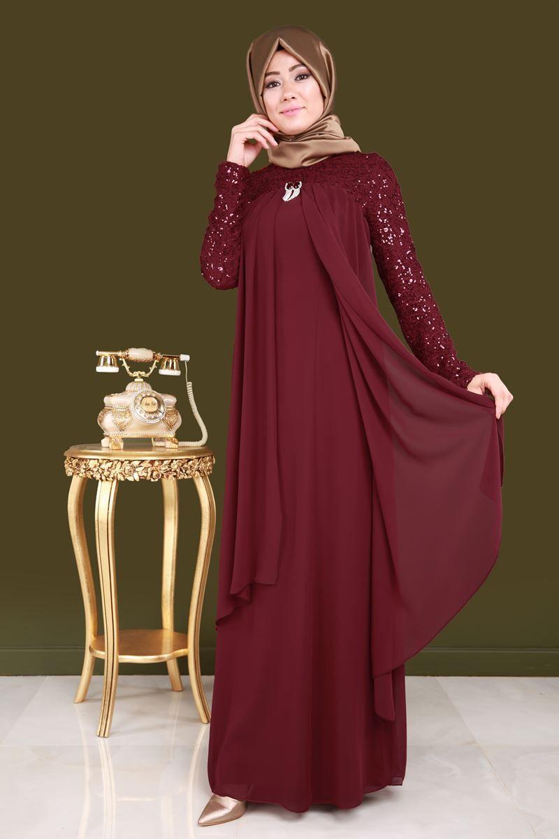 Yeni Urun Broslu Sifon Tesettur Abiye Bordo Urun Kodu Alm3012 139 90 Tl Kadin Giyim Islami Giyim Elbise