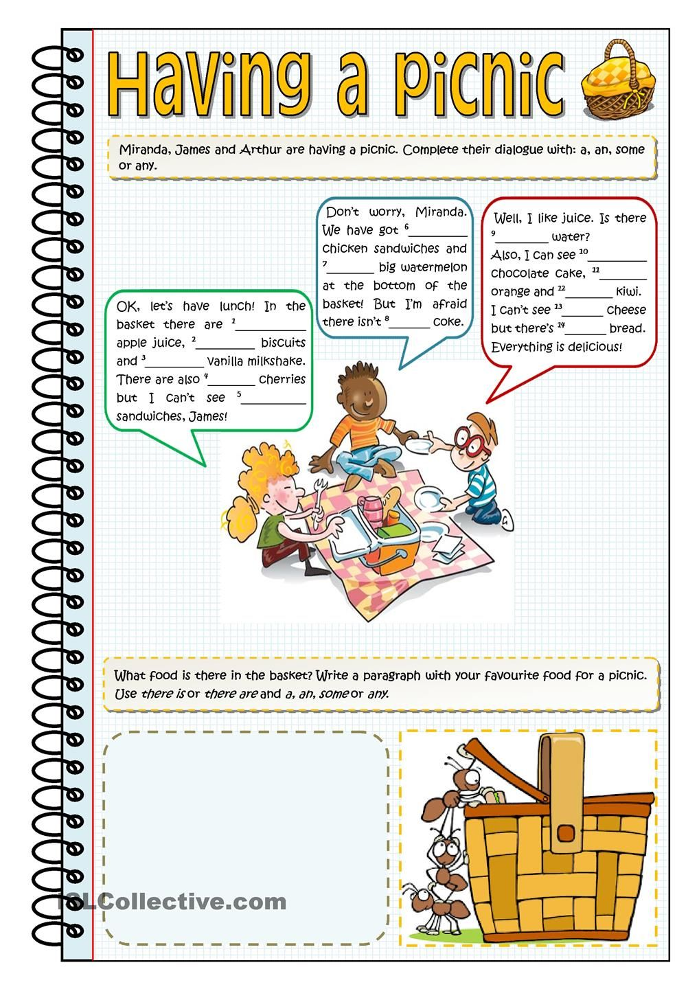 Having A Picnic A An Some Or Any English Language Teaching Time Worksheets English Lessons [ 1440 x 1018 Pixel ]