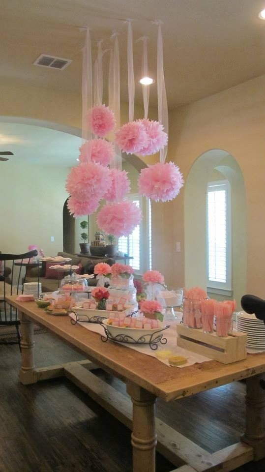Tissue Paper Flowers Hanging From Ceiling Party Decor How To Dress The Ceiling My Blog Pink Party Decorations Birthday Decorations Baby Shower Parties